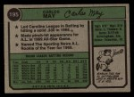 1974 Topps #195  Carlos May  Back Thumbnail