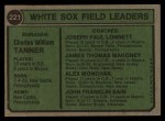 1974 Topps #221   -  Chuck Tanner / Joe Lonnett / Jim Mahoney / Al Monchak / Johnny Sain White Sox Leaders   Back Thumbnail