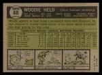 1961 Topps #60  Woodie Held  Back Thumbnail
