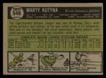 1961 Topps #546  Marty Kutyna  Back Thumbnail