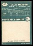 1960 Topps #63  Ollie Matson  Back Thumbnail