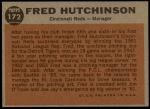 1962 Topps #172 GRN Fred Hutchinson  Back Thumbnail