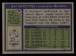 1972 Topps #243  Myron Pottios  Back Thumbnail