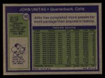 1972 Topps #78  Johnny Unitas  Back Thumbnail
