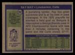 1972 Topps #297  Ray May  Back Thumbnail