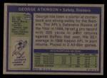 1972 Topps #323  George Atkinson  Back Thumbnail