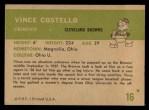 1961 Fleer #16  Vince Costello  Back Thumbnail