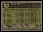 1961 Topps #242  Hal W. Smith  Back Thumbnail