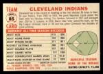 1956 Topps #85 D55  Indians Team Back Thumbnail