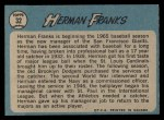 1965 O-Pee-Chee #32  Herman Franks  Back Thumbnail