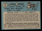 1965 O-Pee-Chee #163  Johnny Briggs  Back Thumbnail