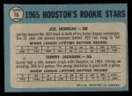 1965 O-Pee-Chee #16   -  Joe Morgan / Sonny Jackson Houston Rookies Back Thumbnail