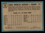 1965 O-Pee-Chee #134   -  Mickey Mantle / Barney Schultz / Tim McCarver 1964 World Series - Game #3 - Mantle's Clutch HR Back Thumbnail