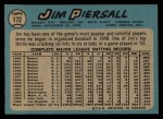1965 O-Pee-Chee #172  Jimmy Piersall  Back Thumbnail