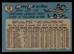 1965 O-Pee-Chee #182  Mike de la Hoz  Back Thumbnail