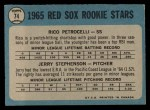 1965 O-Pee-Chee #74   -  Rico Petrocelli / Jerry Stephenson Red Sox Rookies Back Thumbnail