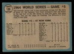 1965 O-Pee-Chee #136   -  Tim McCarver / Bill White / Dick Groat / Mike Shannon 1964 World Series - Game #5 - 10th Inning Triumph Back Thumbnail