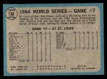 1965 O-Pee-Chee #138   -  Bob Gibson 1964 World Series - Game #7 - Gibson Wins Finale Back Thumbnail
