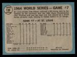 1965 O-Pee-Chee #138   -  Bob Gibson 1964 World Series - Game #7 - Gibson Wins Finale Back Thumbnail