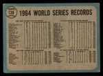1965 O-Pee-Chee #139   1964 World Series - Summary - The Cards Celebrate Back Thumbnail