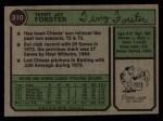 1974 Topps #310  Terry Forster  Back Thumbnail