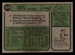 1974 Topps #376  Jorge Orta  Back Thumbnail