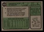 1974 Topps #423  Fred Stanley  Back Thumbnail