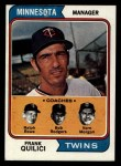 1974 Topps #447   -  Frank Quilici / Ver Morgan / Bob Rodgers / Ralph Rowe Twins Leaders   Front Thumbnail