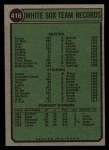 1974 Topps #416   White Sox Team Back Thumbnail