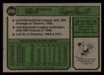 1974 Topps #285  Reggie Smith  Back Thumbnail