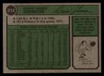 1974 Topps #312  Deron Johnson  Back Thumbnail