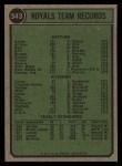 1974 Topps #343   Royals Team Back Thumbnail