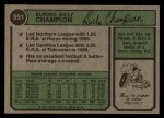 1974 Topps #391  Billy Champion  Back Thumbnail