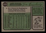 1974 Topps #424  Jim Beauchamp  Back Thumbnail