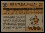 1960 Topps #325  Jim O'Toole  Back Thumbnail