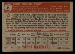 1952 Topps #15 RED Johnny Pesky  Back Thumbnail