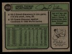 1974 Topps #266  Jim Northrup  Back Thumbnail