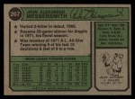 1974 Topps #267  Andy Messersmith  Back Thumbnail