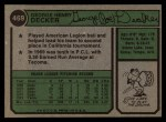 1974 Topps #469  Joe Decker  Back Thumbnail