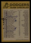 1974 Topps Red Checklist   Dodgers Back Thumbnail