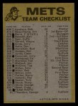 1974 Topps Red Team Checklists #16   Mets Team Checklist Back Thumbnail