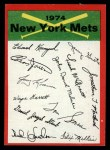 1974 Topps Red Checklist   Mets Red Team Checklist Front Thumbnail