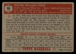 1952 Topps #98  Bill Pierce  Back Thumbnail