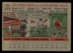 1956 Topps #174 GRY Glen Gorbous  Back Thumbnail