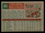 1959 Topps #484  Willie Kirkland  Back Thumbnail