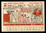 1956 Topps #66  Bob Speake  Back Thumbnail