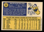 1970 Topps #395  Walt Williams  Back Thumbnail