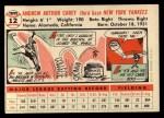 1956 Topps #12  Andy Carey  Back Thumbnail