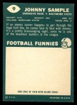 1960 Topps #9  John Sample  Back Thumbnail