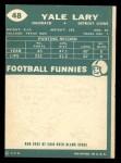 1960 Topps #48  Yale Lary  Back Thumbnail